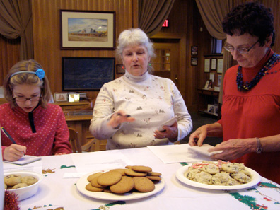 2010 photo gallery - CABA sponsored a cookie contest, which was held in the National Union Bank of Kinderhook lobby. Judges were Abagail Rubel, Barbara Peduzzi, and Lael Locke.