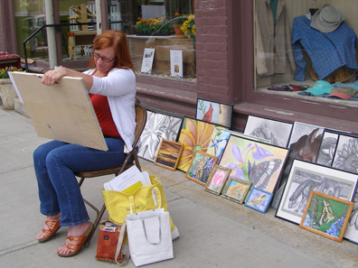 2012 Photo Gallery - Cecilia Stevens displayed some of her beautiful drawings during Chatham's June First Friday