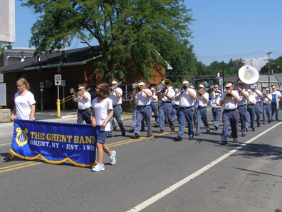2012 Photo Gallery - The Ghent Band marching in the 2012 Firefighters' Parade in Chatham, NY