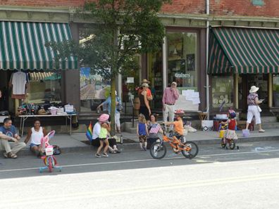 Kids on bikes at Chatham NY Summerfest 2013