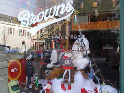 2011 photo gallery - The holiday window at Brown's Emporium on Main Street in Chatham, NY
