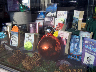 2011 photo gallery - The holiday window in Dodi's Books on Main Street in Chatham, NY