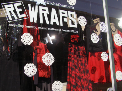 2011 photo gallery - The holiday window at Rewraps on Main Street in Chatham, NY