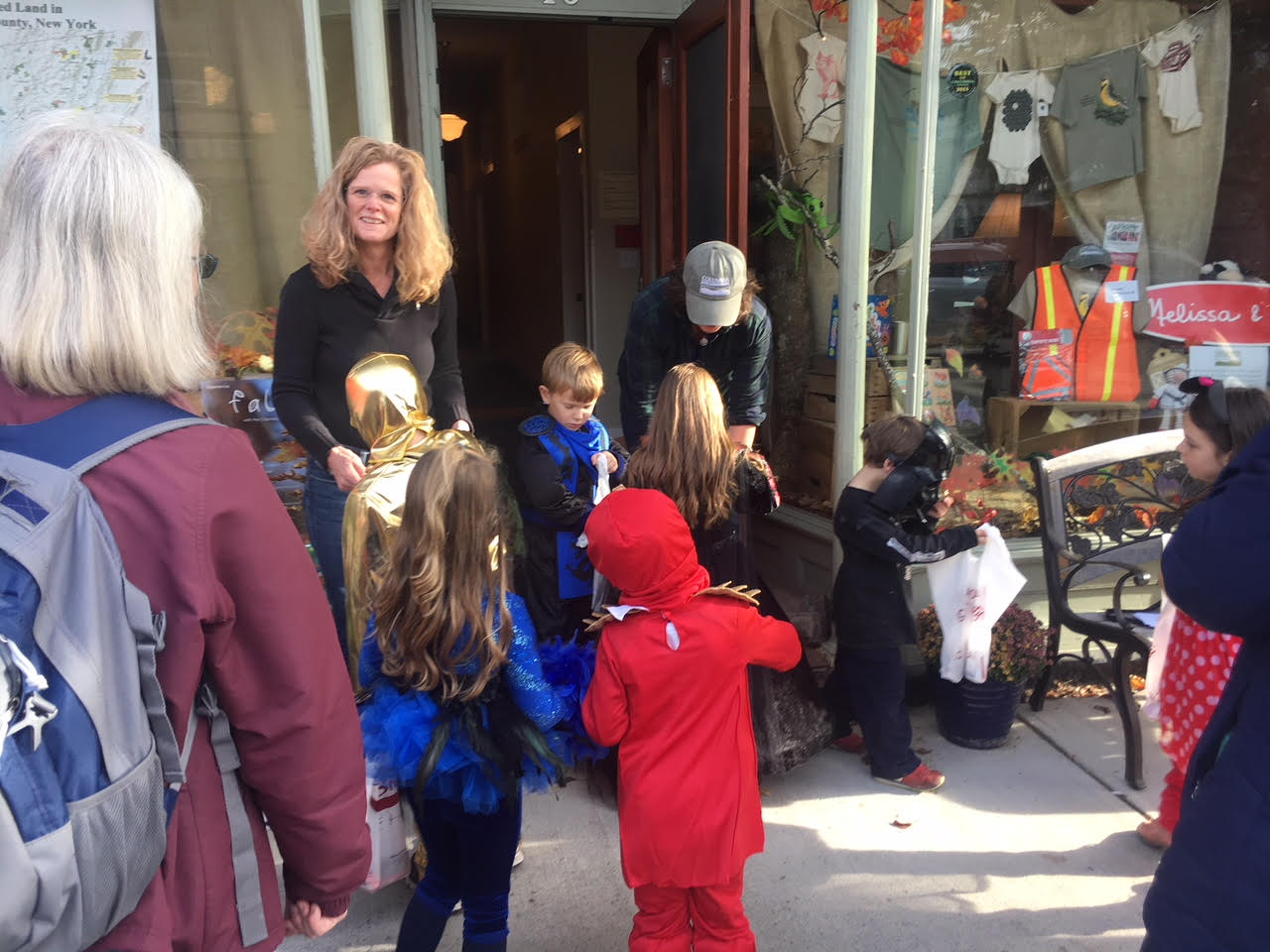 Trick-or-treating on Main Street in the village of Chatham, NY
